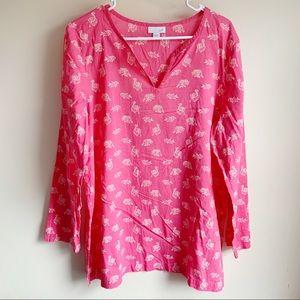 J Jill Pink Animal Print Cotton Blouse Elephants